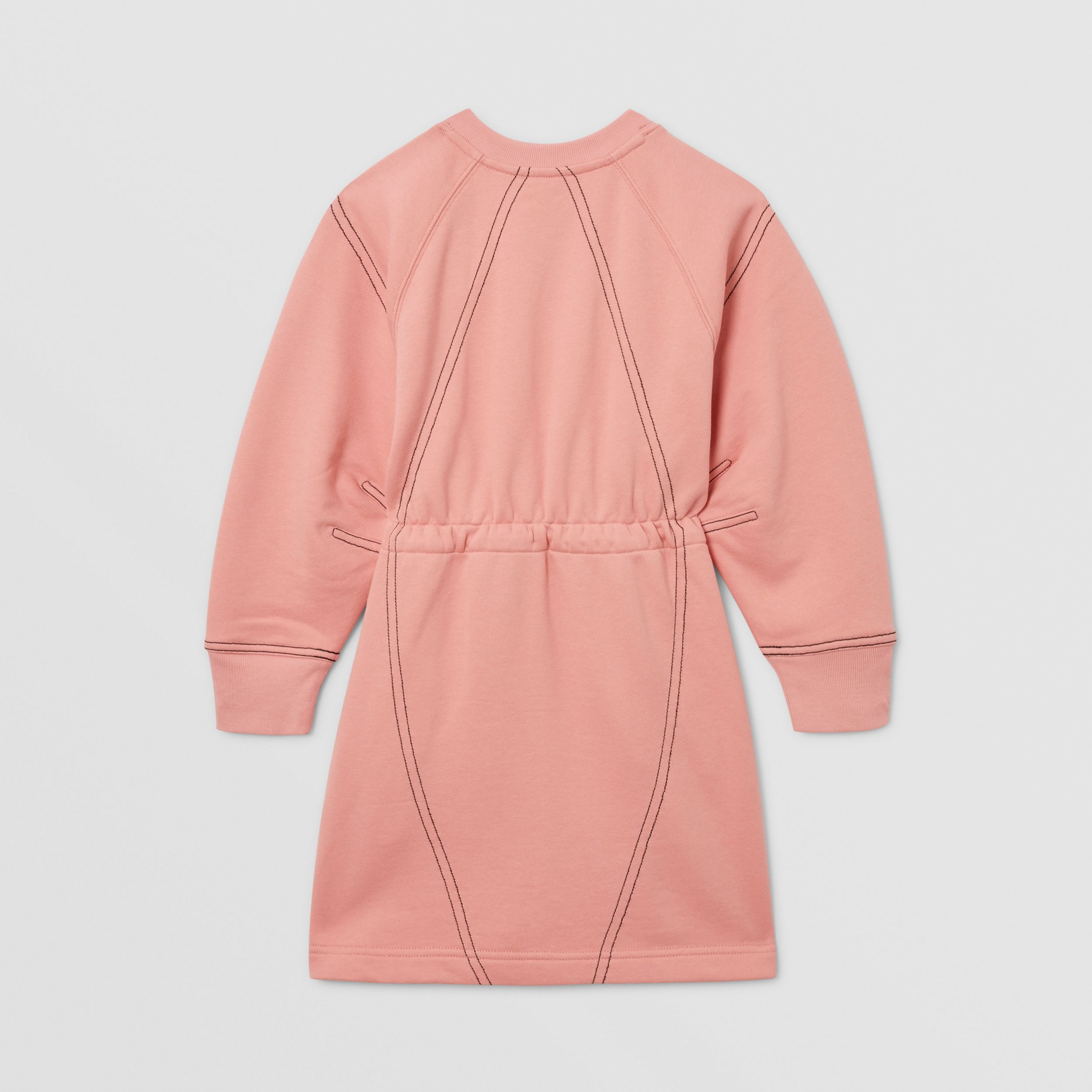 Logo Print Cotton Sweater Dress in Peach | Burberry - 4