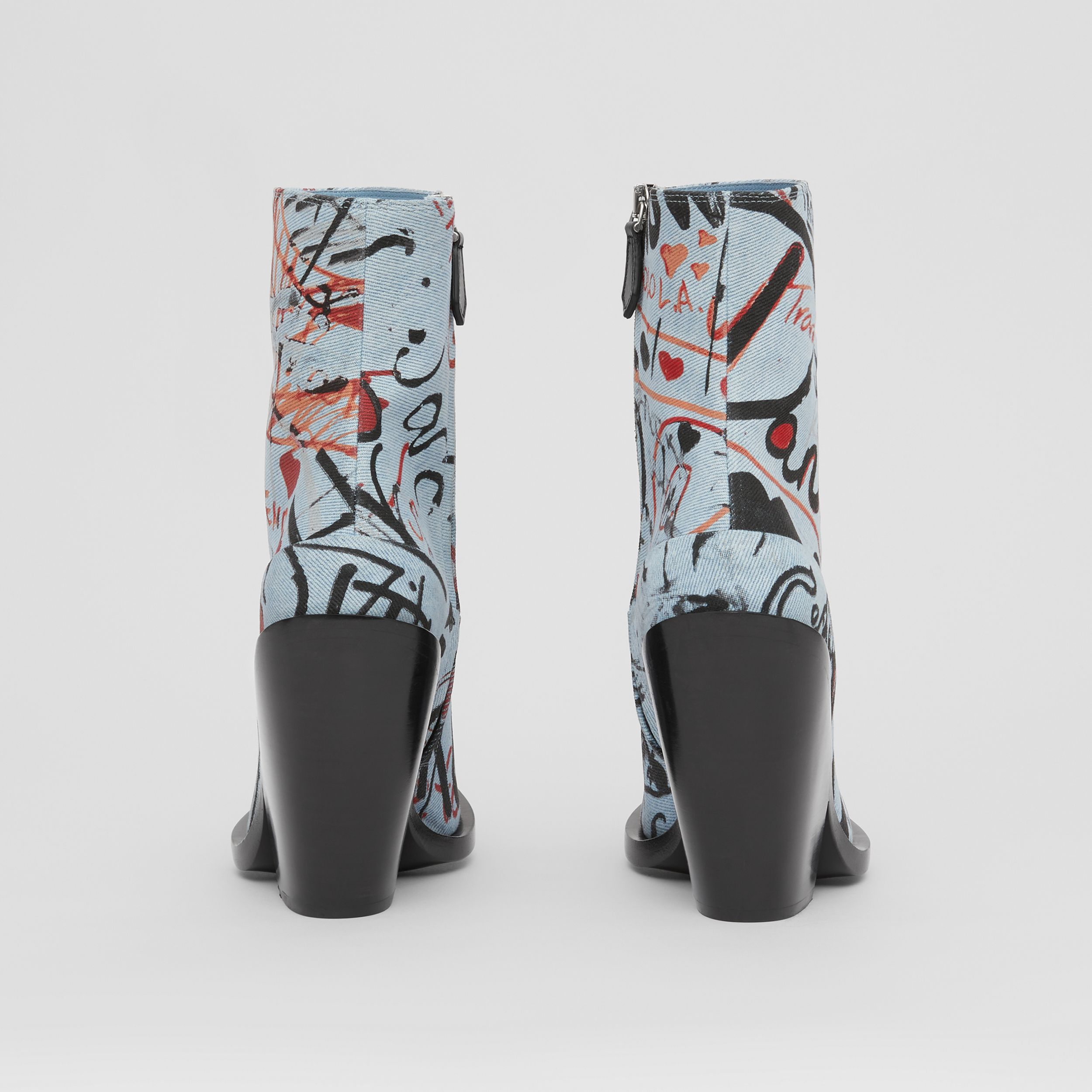 Graffiti Print Denim Block-heel Ankle Boots in Multicolour - Women | Burberry - 4