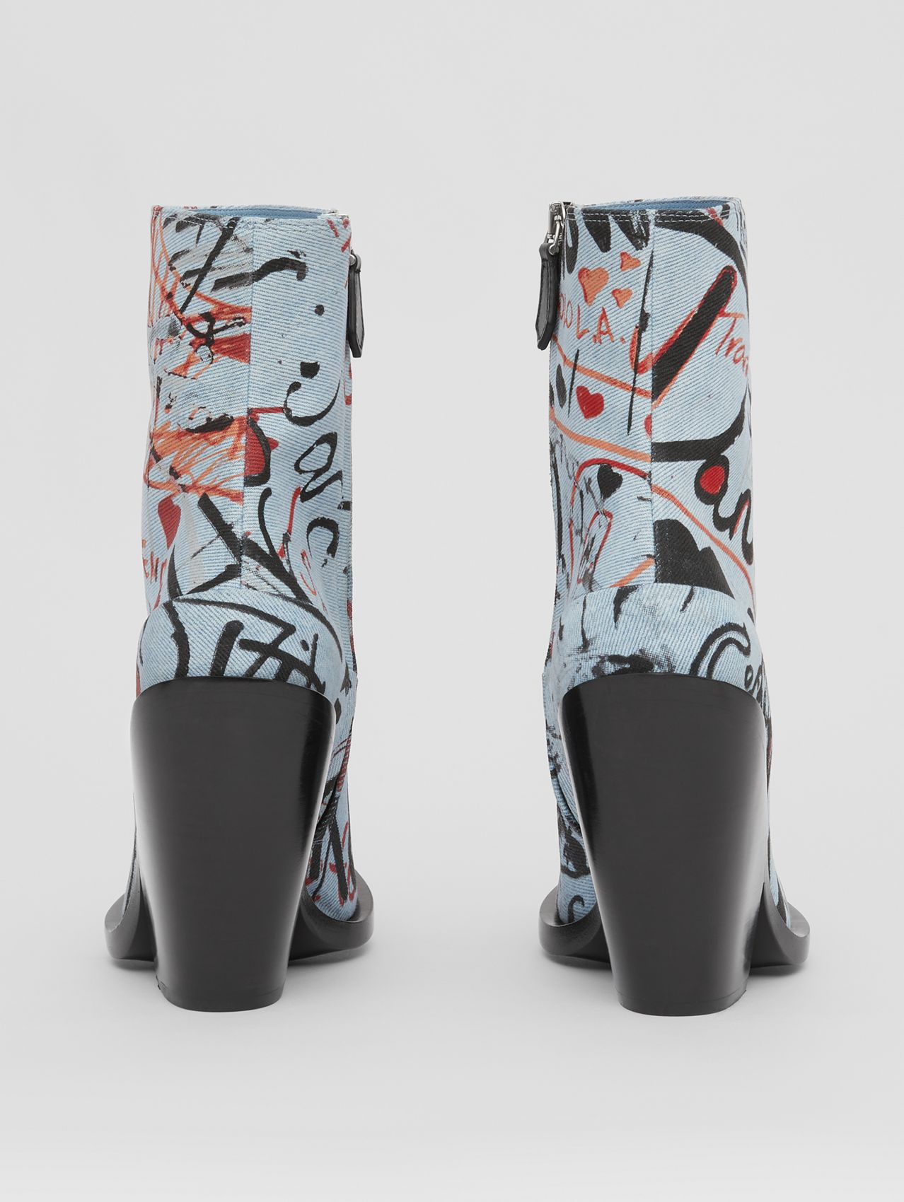 Graffiti Print Denim Block-heel Ankle Boots in Multicolour