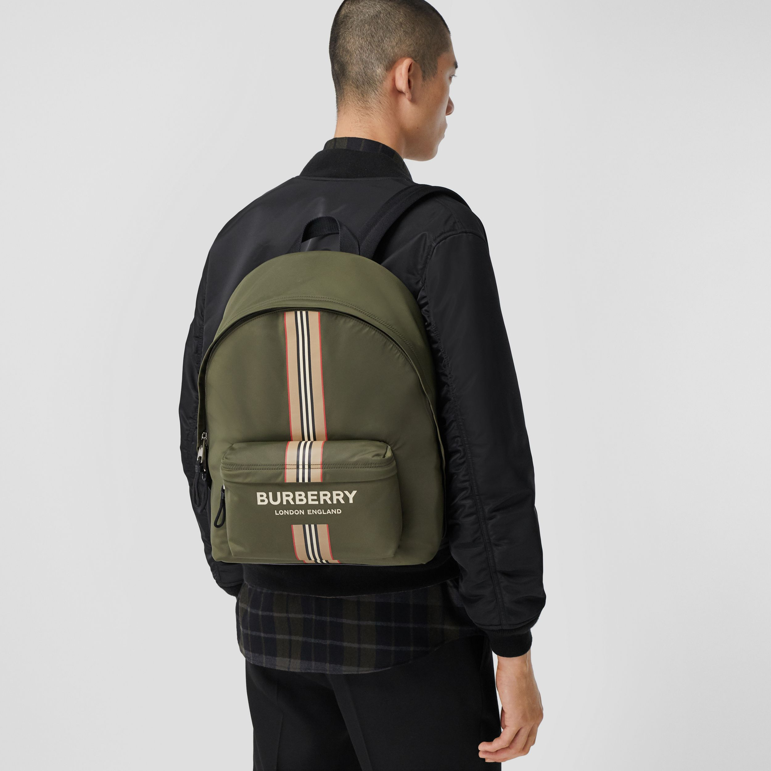 Logo and Icon Stripe Print ECONYL® Backpack in Dark Olive Green | Burberry Hong Kong S.A.R. - 4