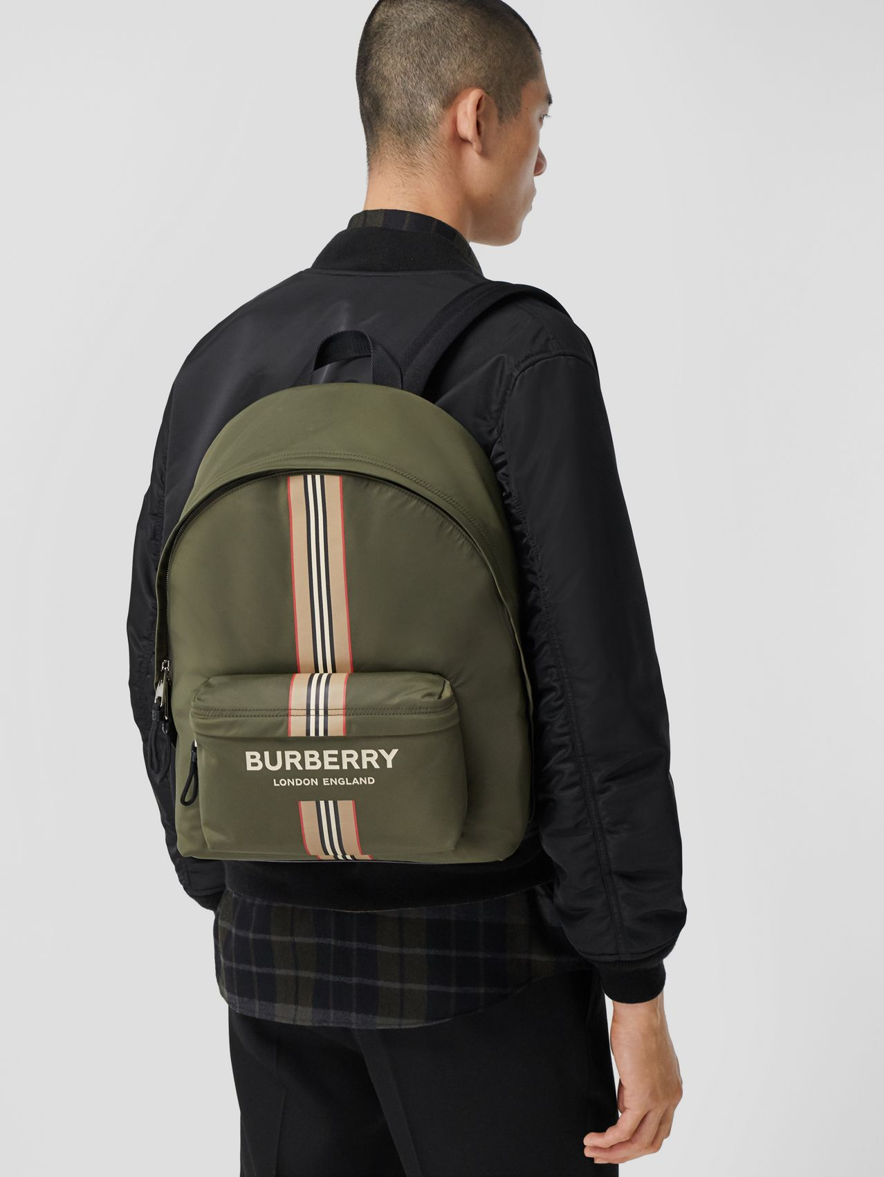 Logo and Icon Stripe Print ECONYL® Backpack in Dark Olive Green