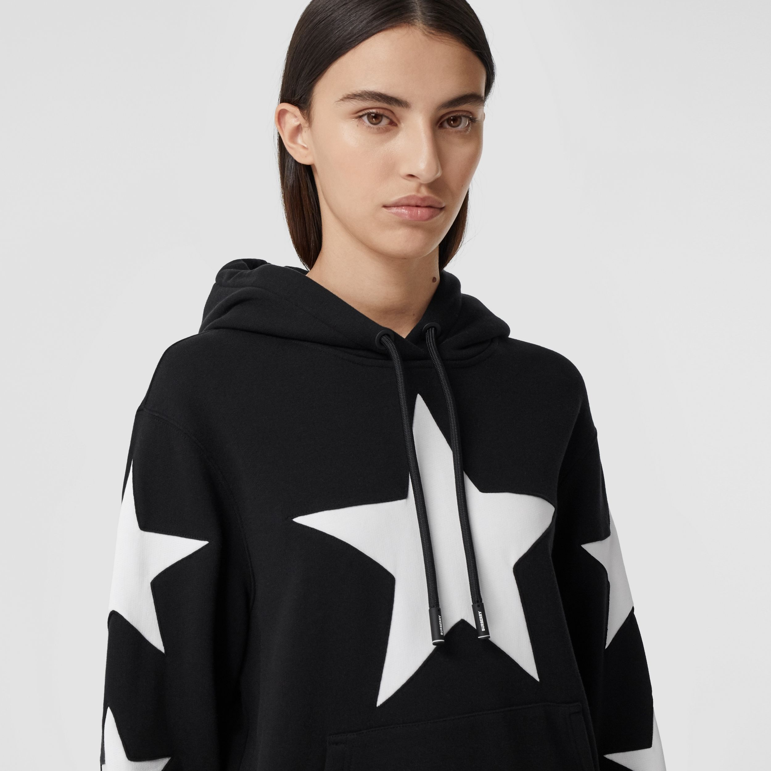 Star Motif Cotton Oversized Hoodie in Black - Women | Burberry - 2