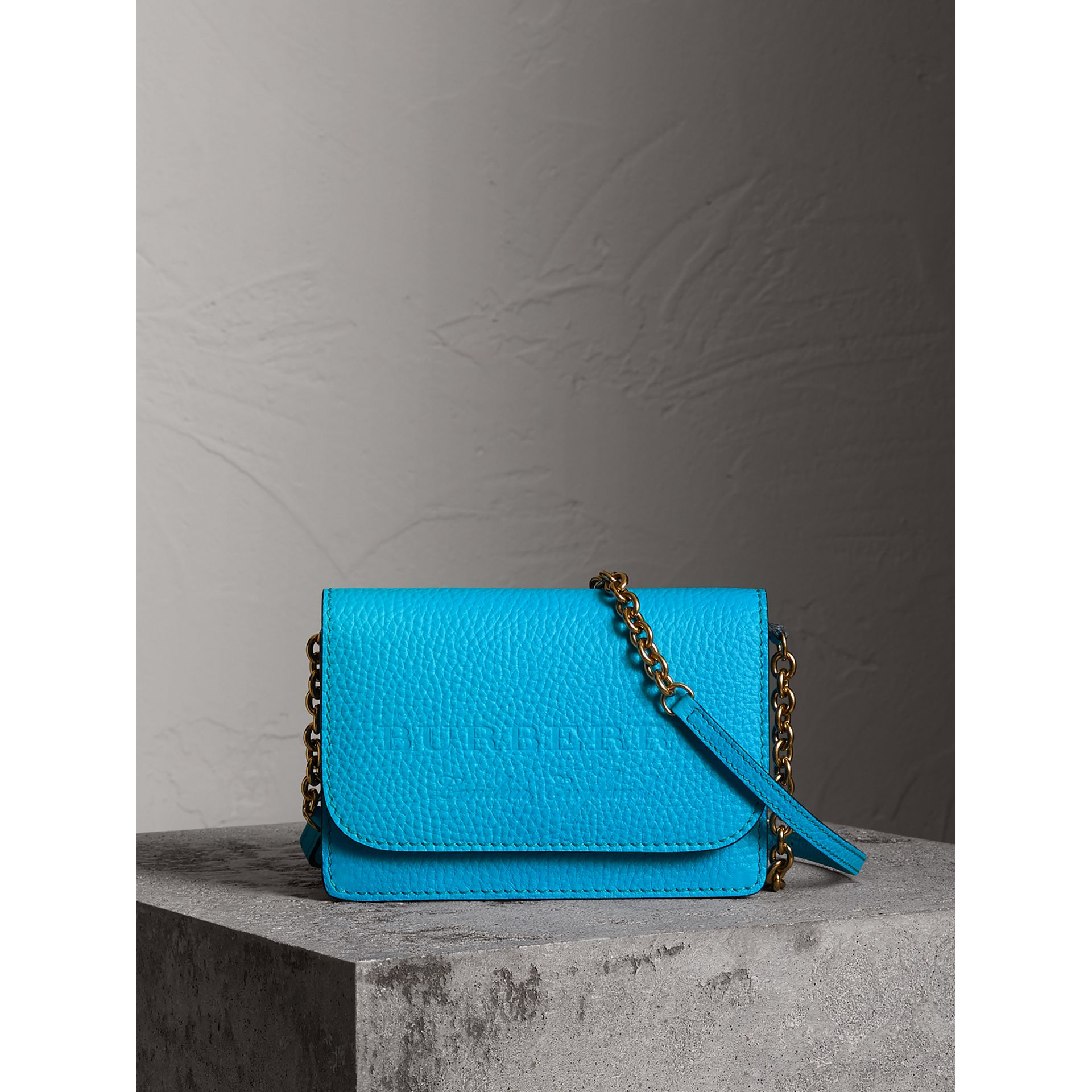 Embossed Leather Wallet with Detachable Strap in Bright Blue - Women | Burberry - gallery image 0