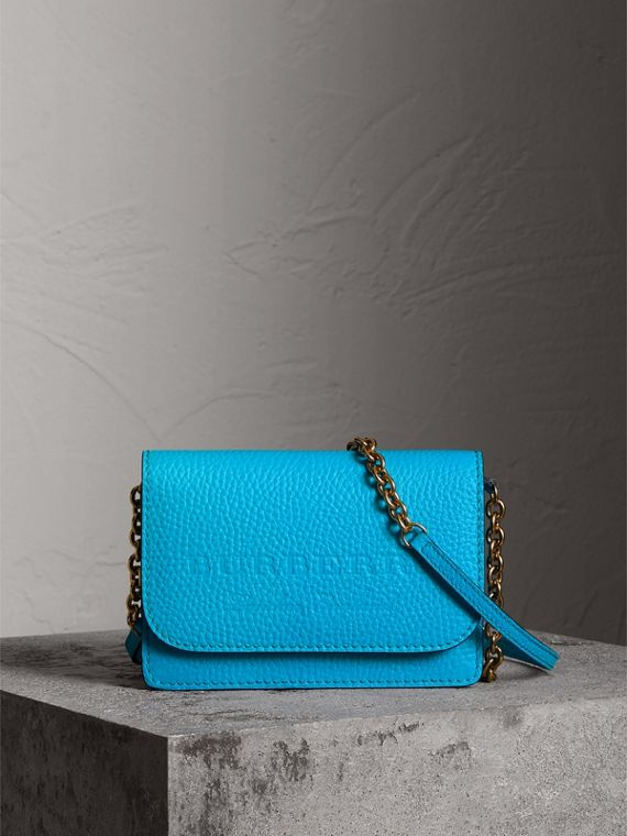 Embossed Leather Wallet with Detachable Strap in Bright Blue