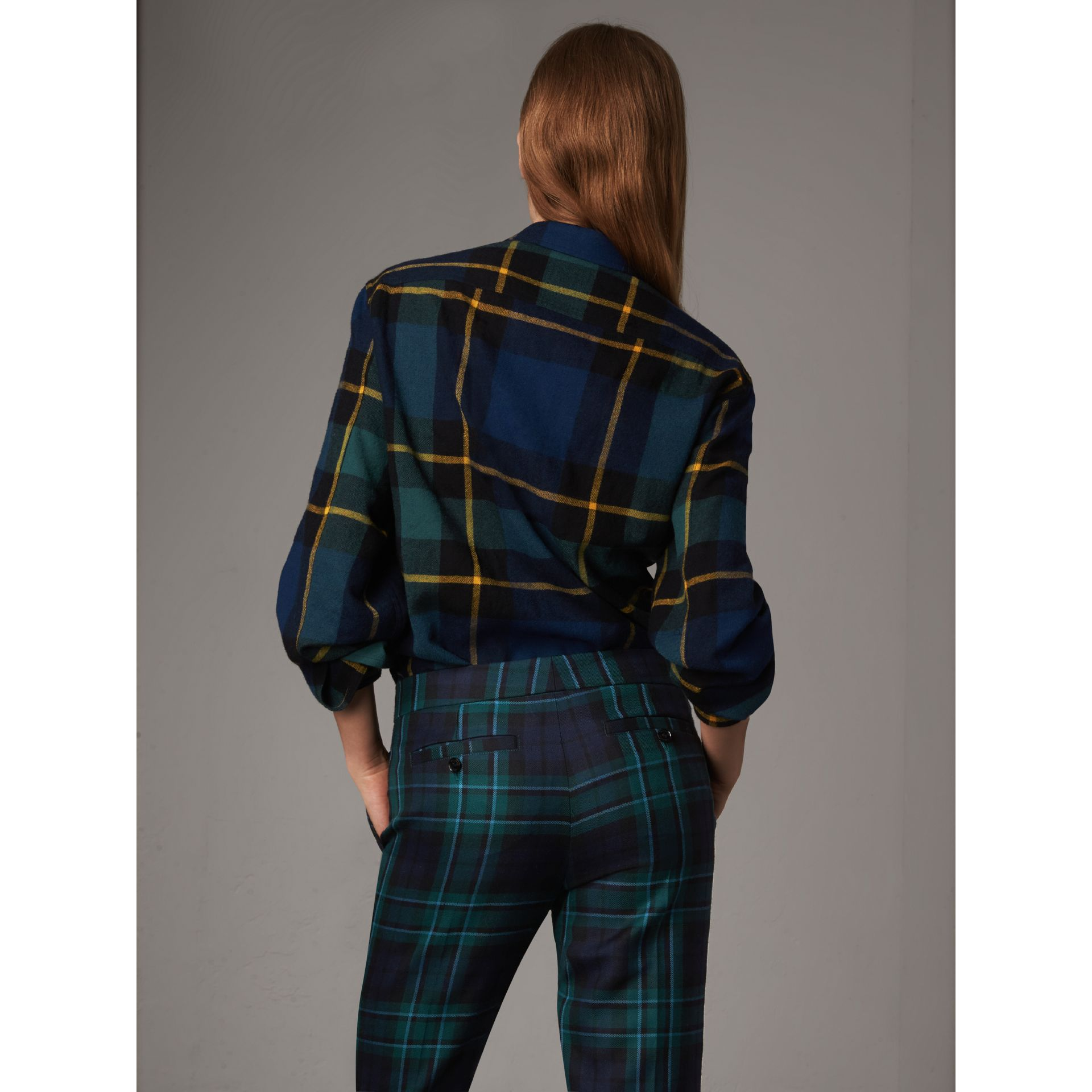 Tartan Wool Flannel Tunic Shirt in Ink Blue - Women | Burberry - gallery image 2