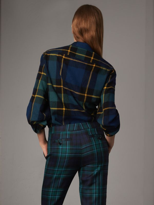 Tartan Wool Flannel Tunic Shirt in Ink Blue - Women | Burberry - cell image 2