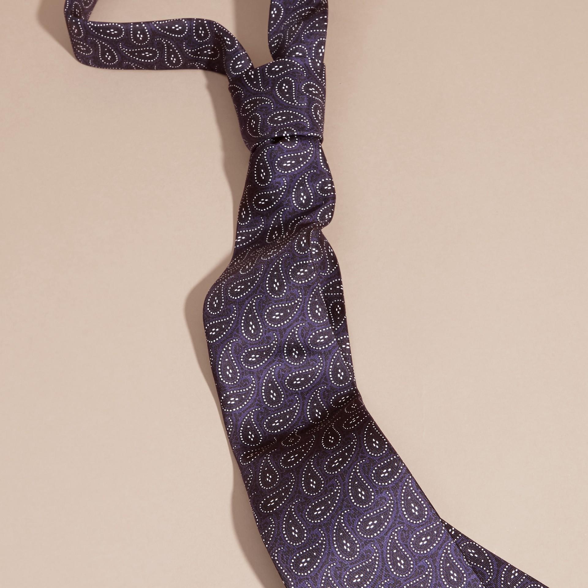 Navy Modern Cut Paisley Print Silk Tie Navy - gallery image 1