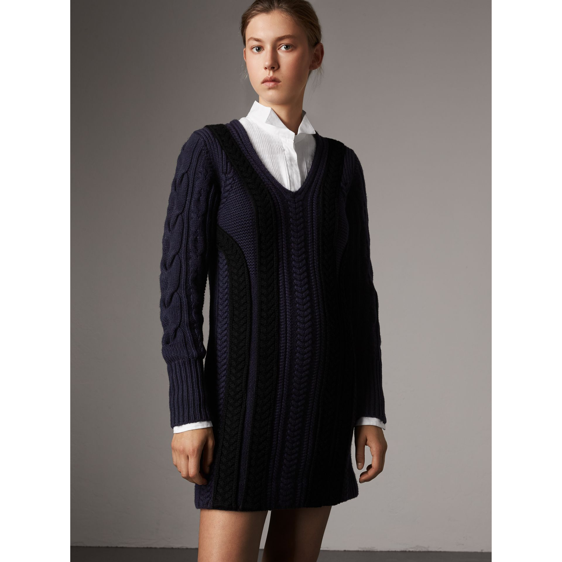 Cable Knit Wool Cashmere Sweater Dress in Navy - Women | Burberry - gallery image 1