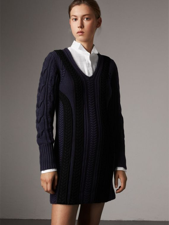 Cable Knit Wool Cashmere Sweater Dress in Navy
