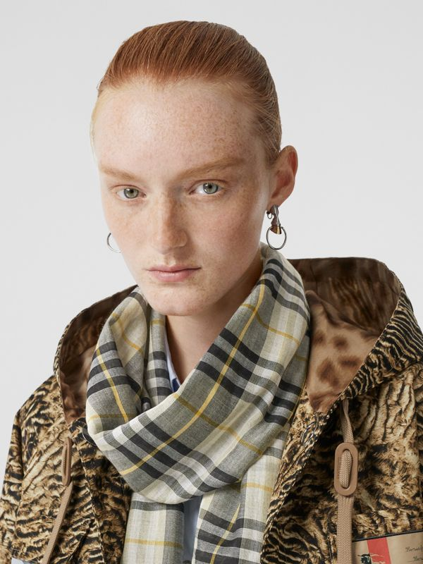 Vintage Check Lightweight Wool Silk Scarf in Sage Green | Burberry Singapore - cell image 2