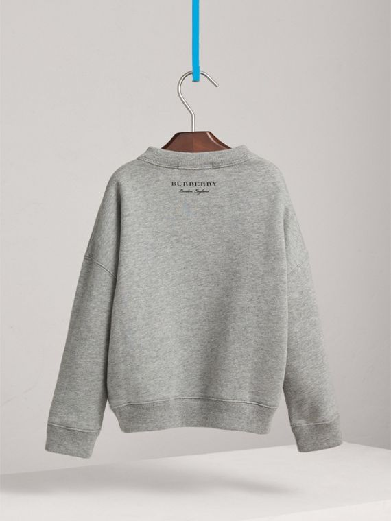 Creature Motif Cotton Sweatshirt in Grey Melange - Girl | Burberry - cell image 3