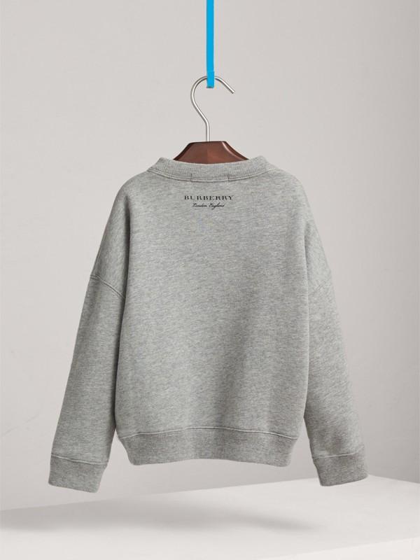Creature Motif Cotton Sweatshirt in Grey Melange | Burberry - cell image 3