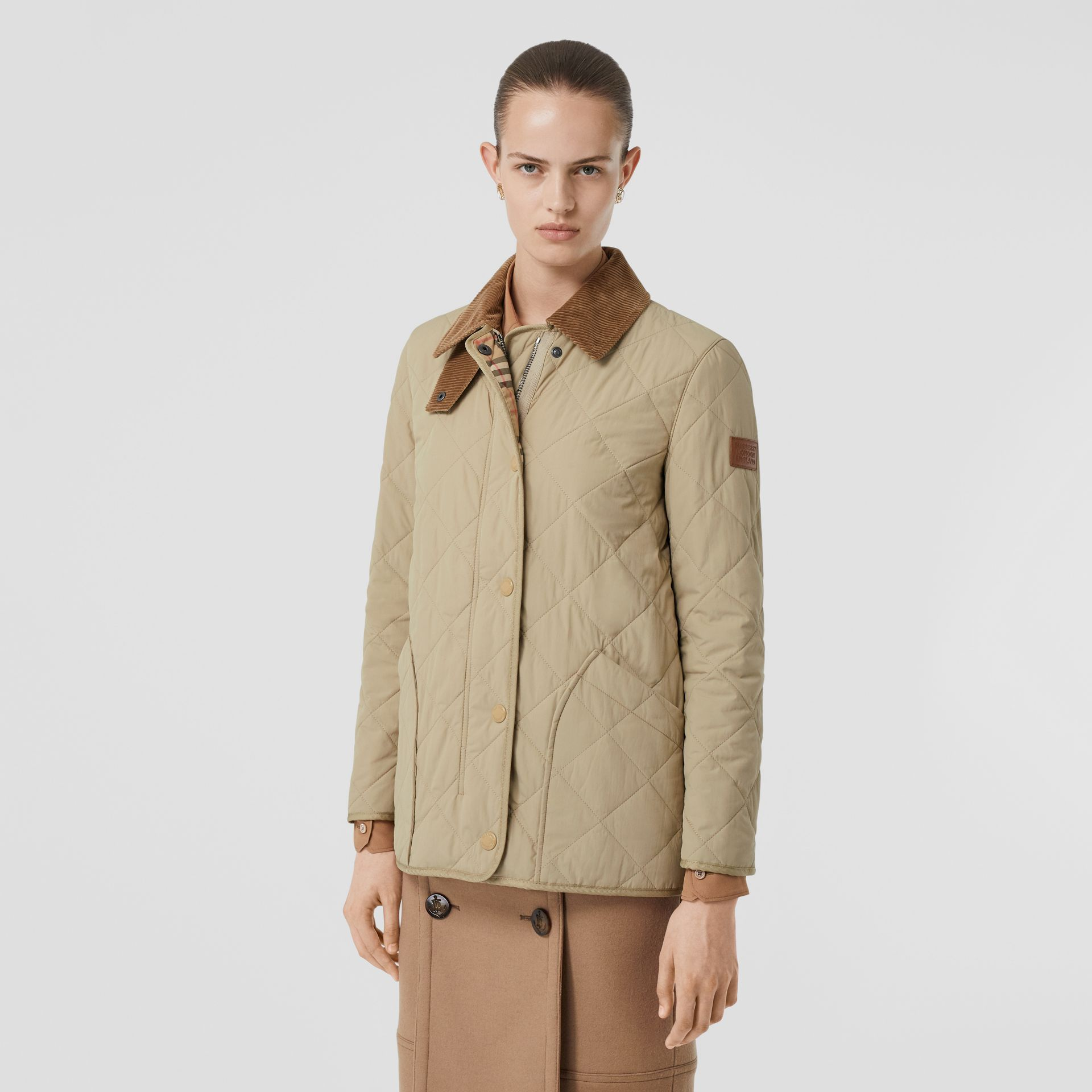 Diamond Quilted Thermoregulated Barn Jacket in Honey - Women | Burberry Australia - gallery image 6