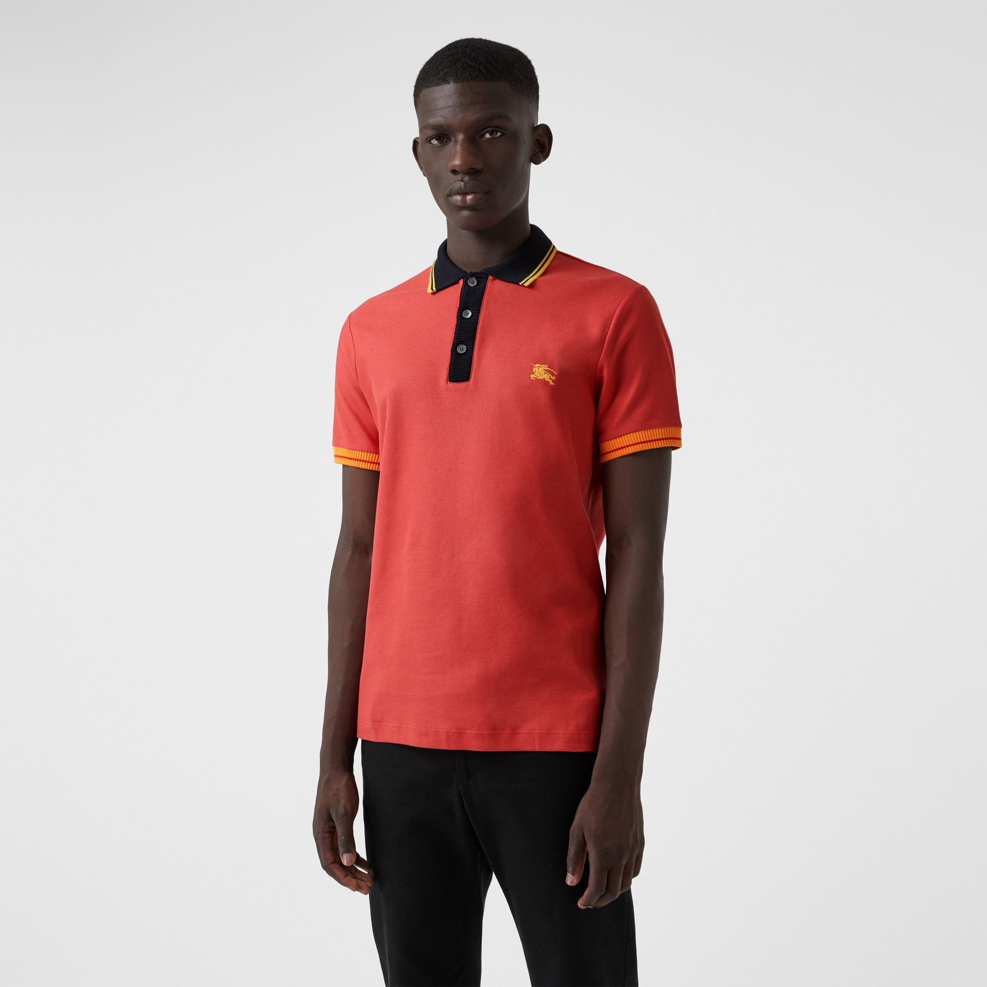 Tipped Cotton Piqué Polo Shirt in Pale Russet - Men | Burberry - gallery image 0