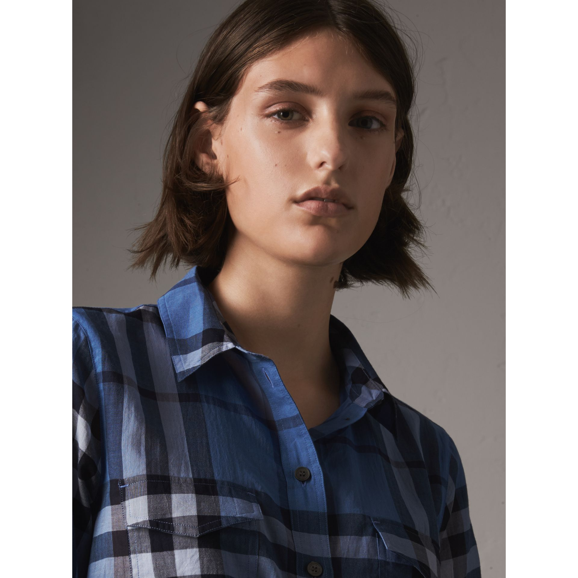 Check Cotton Shirt in Hydrangea Blue - Women | Burberry - gallery image 2
