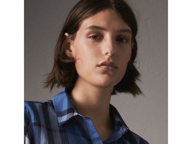 Check Cotton Shirt in Hydrangea Blue - Women | Burberry - cell image 1