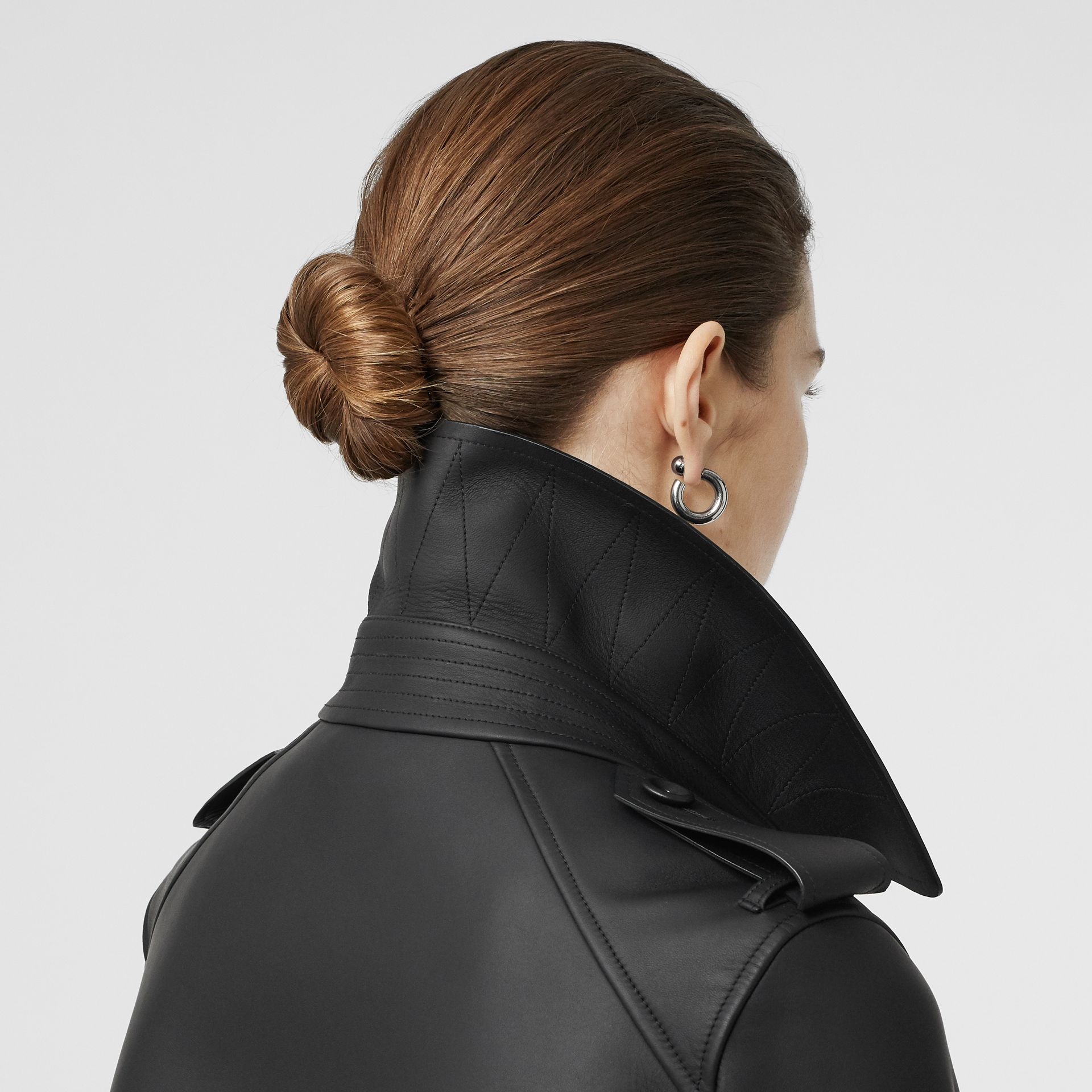 Lambskin Wrap Trench Coat in Black - Women | Burberry United Kingdom - gallery image 5