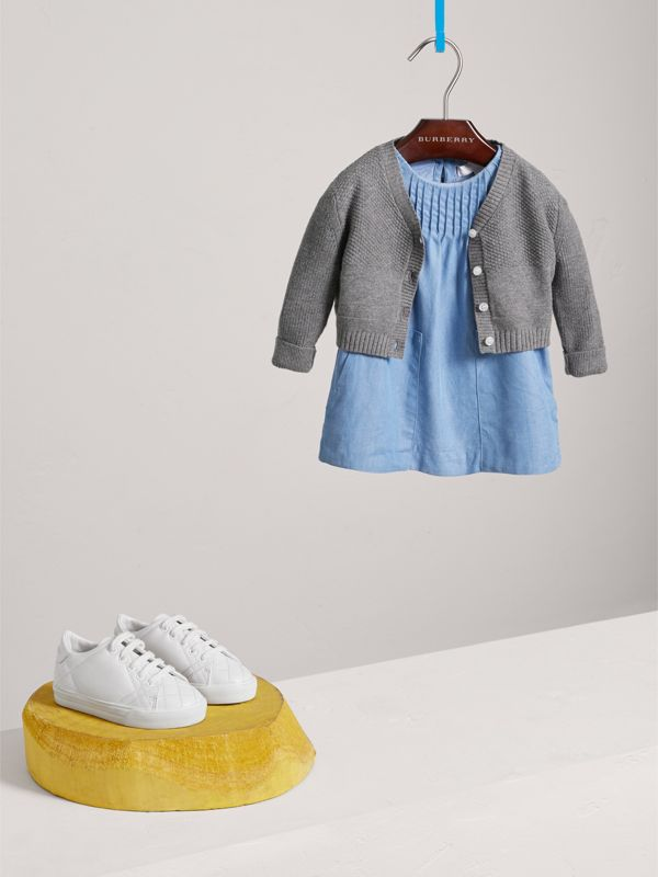 Multi-stitch Cotton Cardigan in Mid Grey Melange - Children | Burberry - cell image 2