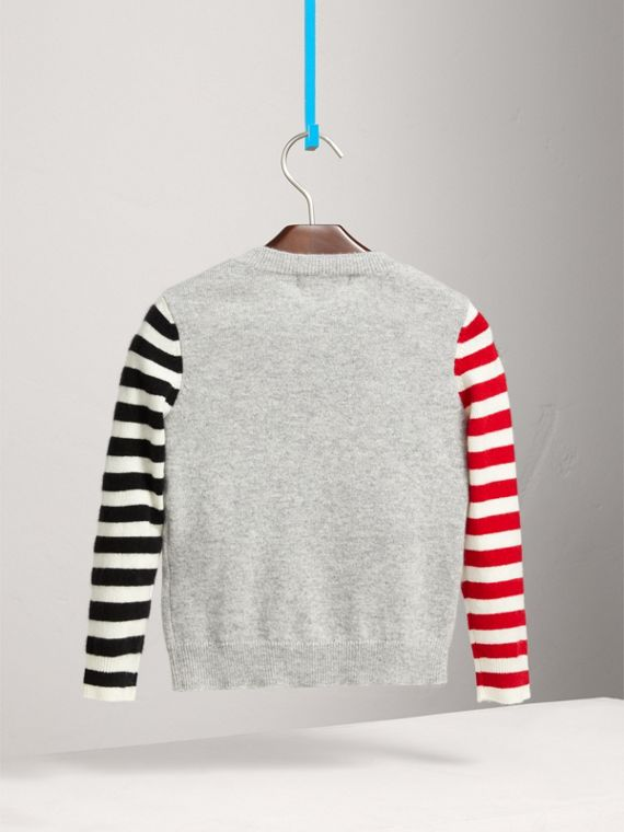 London Icons Intarsia Cashmere Sweater in Grey Melange - Boy | Burberry United Kingdom - cell image 3