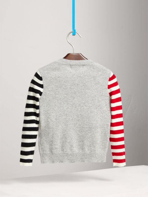 London Icons Intarsia Cashmere Sweater in Grey Melange | Burberry - cell image 3