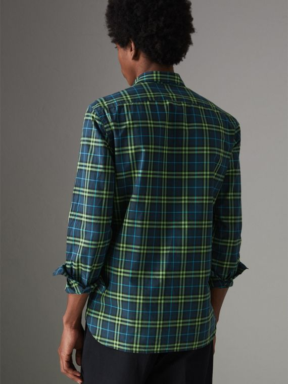 Check Cotton Shirt in Dark Pewter Blue - Men | Burberry - cell image 2