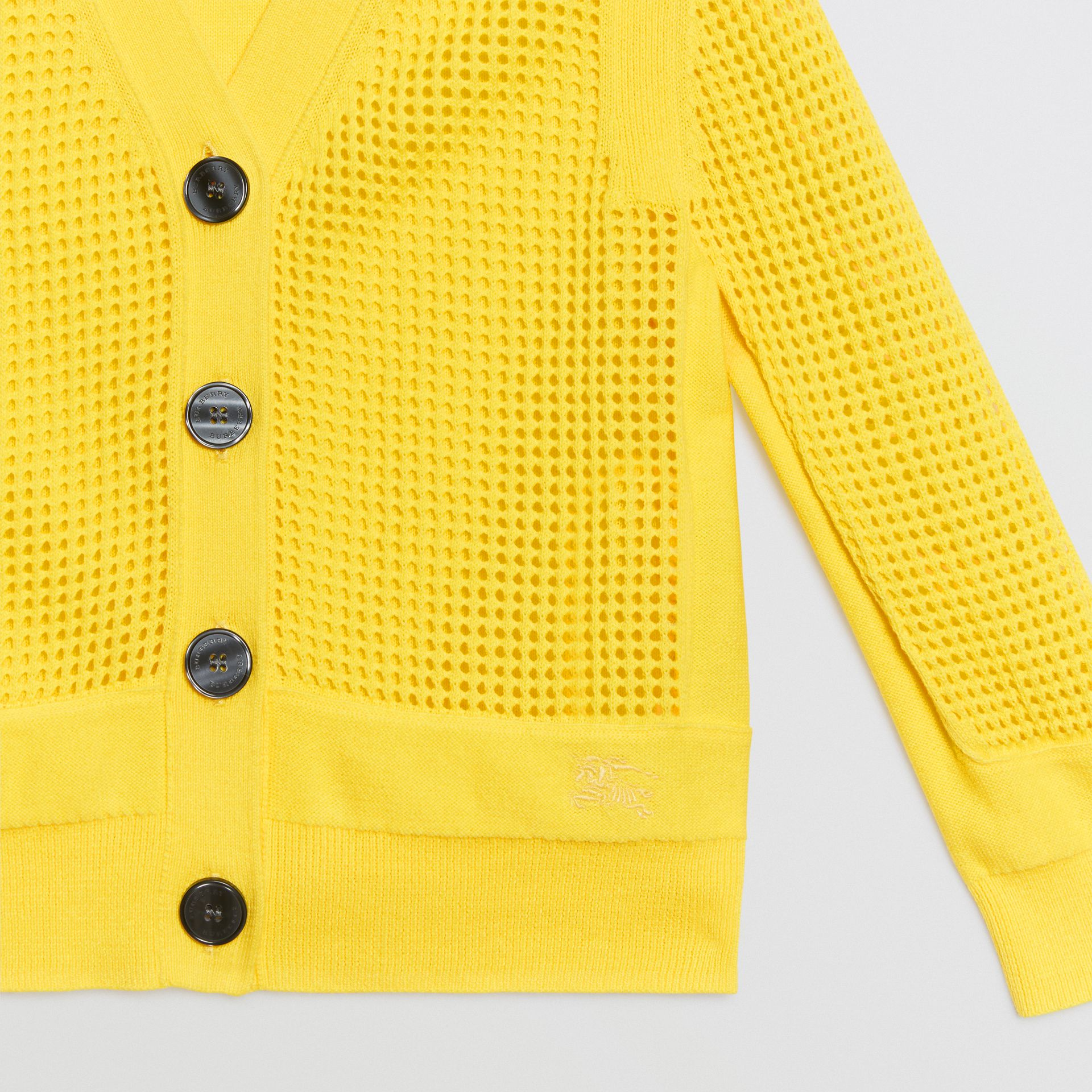 Open Knit Cotton V-neck Cardigan in Citrus Yellow | Burberry - gallery image 4