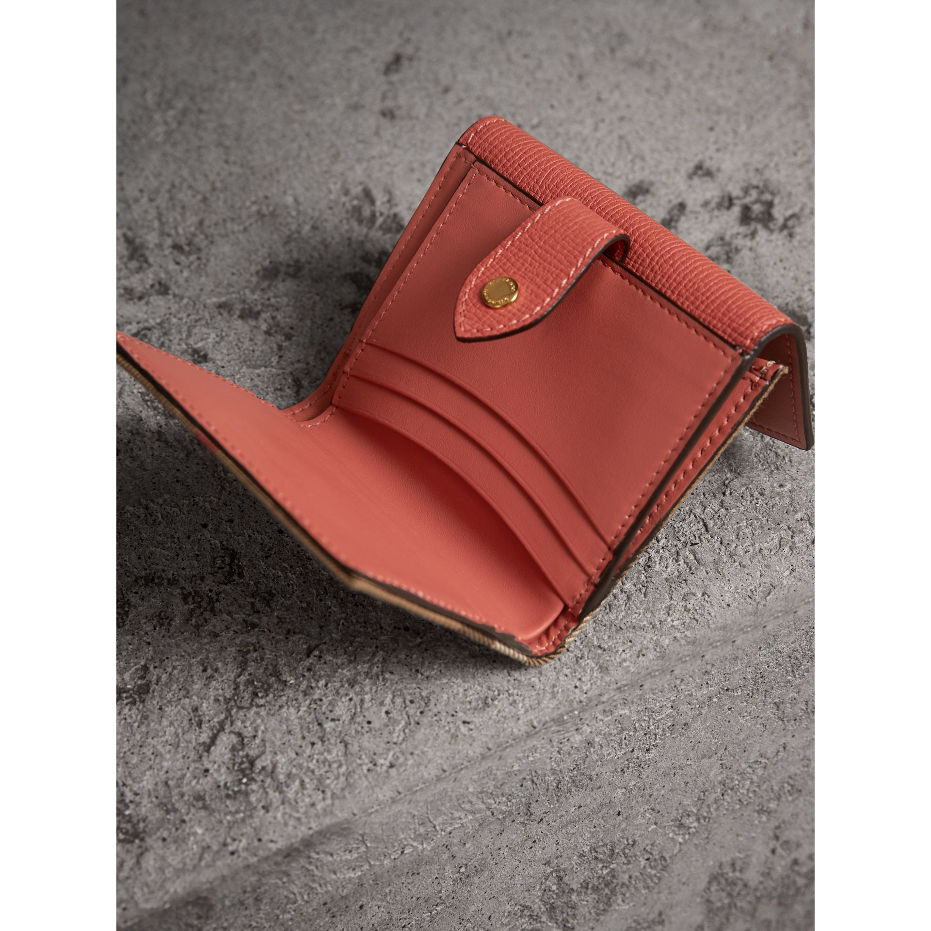 House Check and Leather Wallet in Cinnamon Red - Women | Burberry - gallery image 3