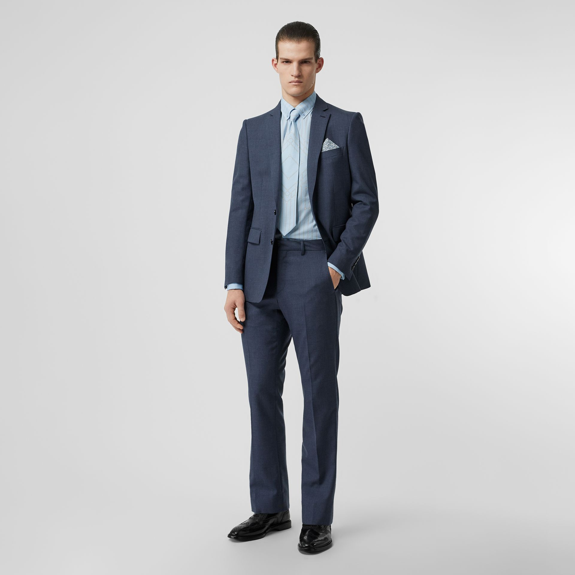 Classic Fit Wool Mohair Tailored Trousers in Steel Blue Melange - Men | Burberry - gallery image 0