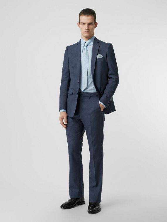 Classic Fit Wool Mohair Tailored Trousers in Steel Blue Melange