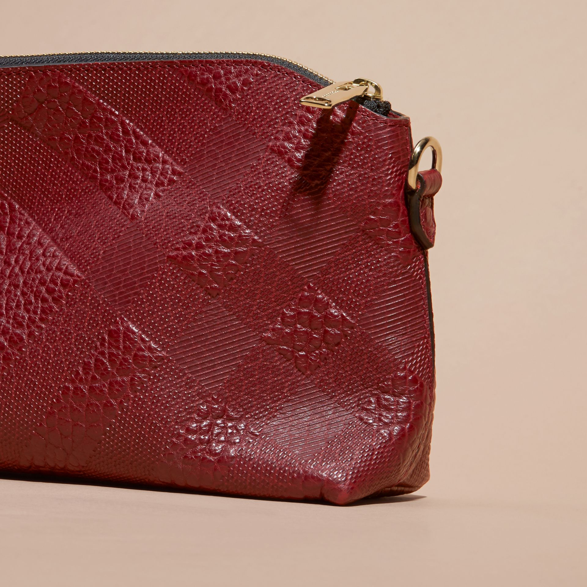 Deep red Small Embossed Check Leather Clutch Bag Deep Red - gallery image 5
