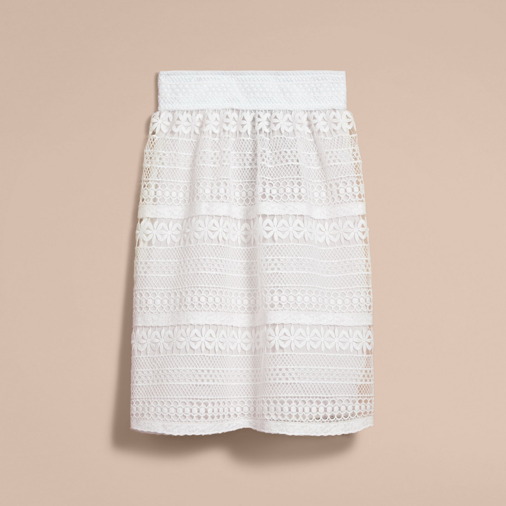 Macramé Lace Skirt in White - Women | Burberry - gallery image 4