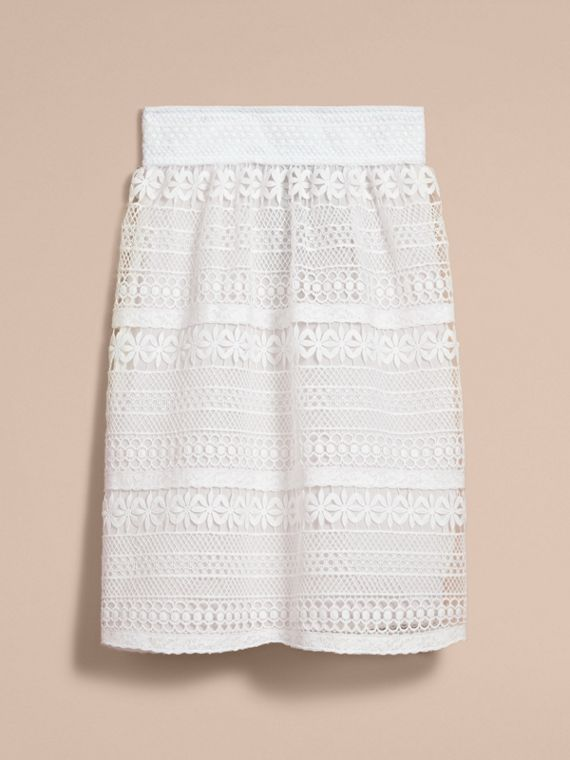 Macramé Lace Skirt in White - Women | Burberry - cell image 3