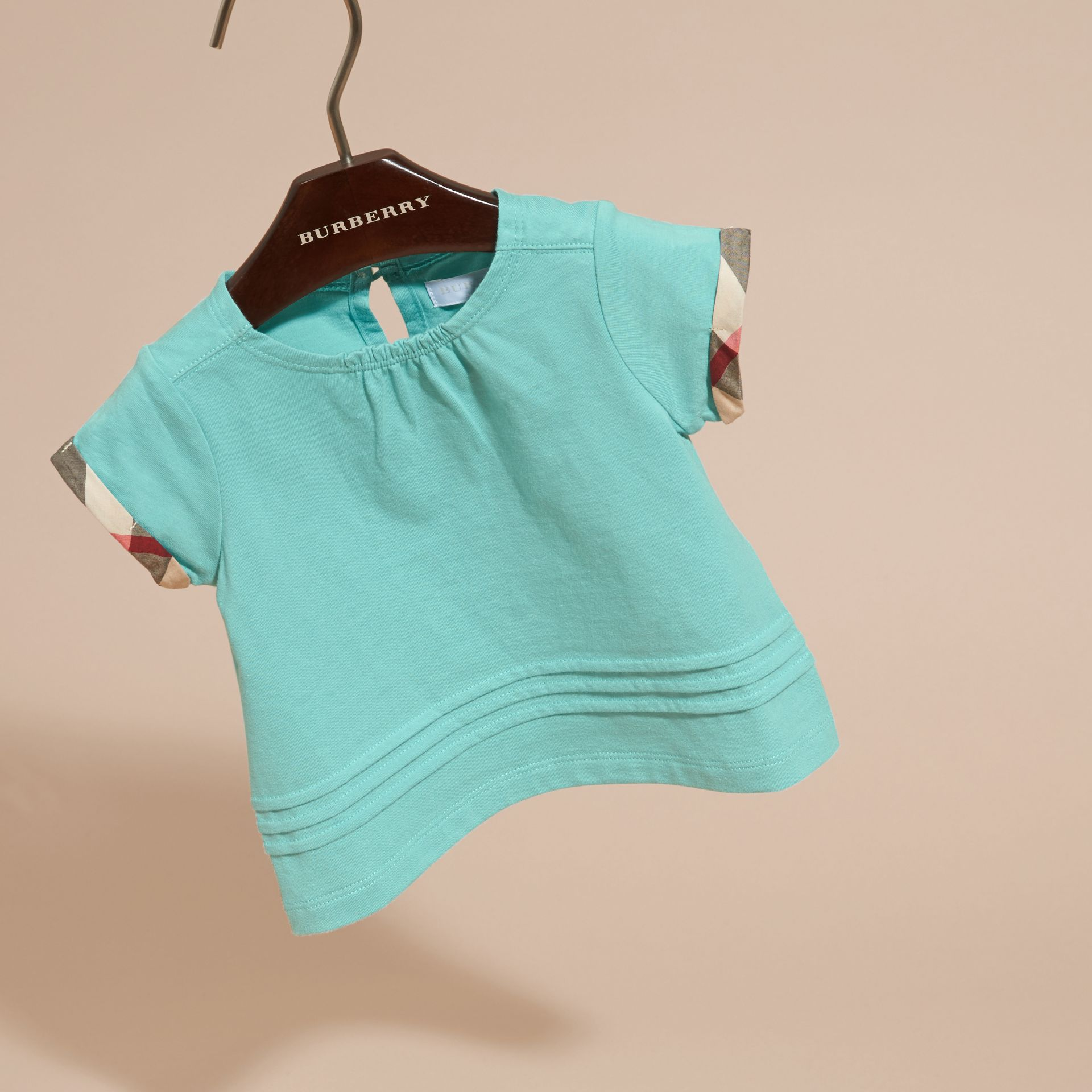 Pleat and Check Detail Cotton T-shirt in Pale Turquoise - gallery image 3