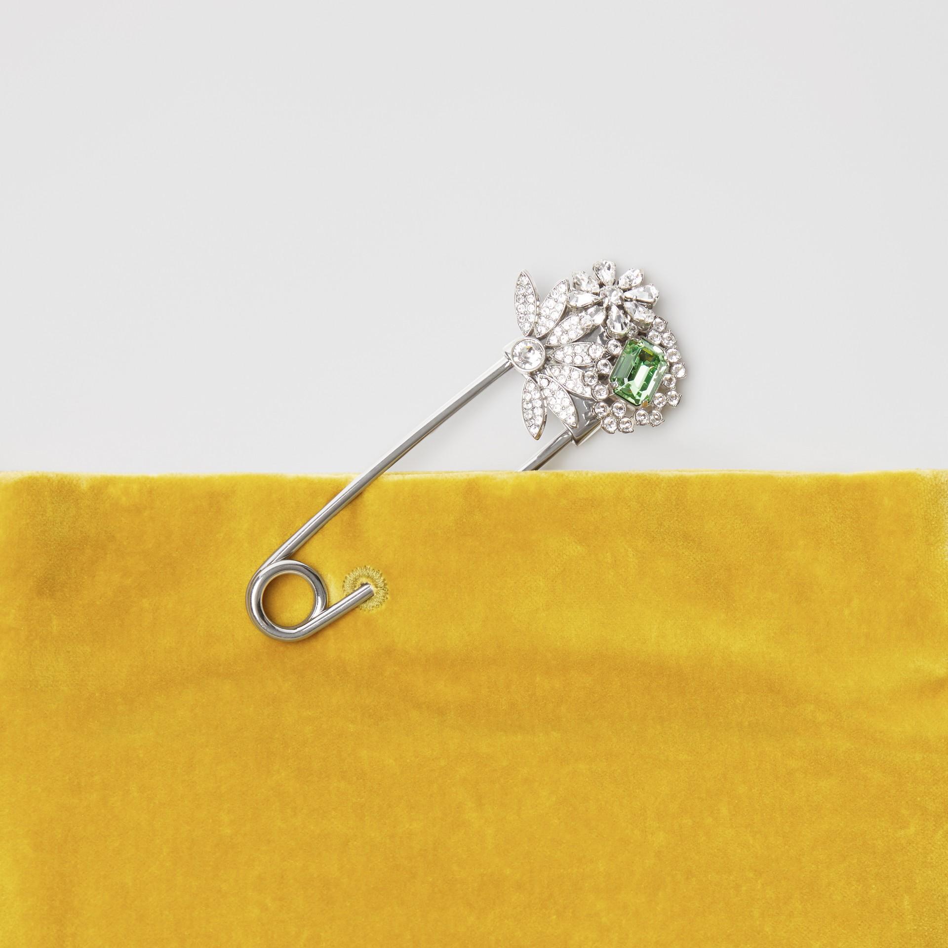 Бархатная сумка Pin Clutch, компактный размер (Желтая Лиственница) - Для женщин | Burberry - изображение 1
