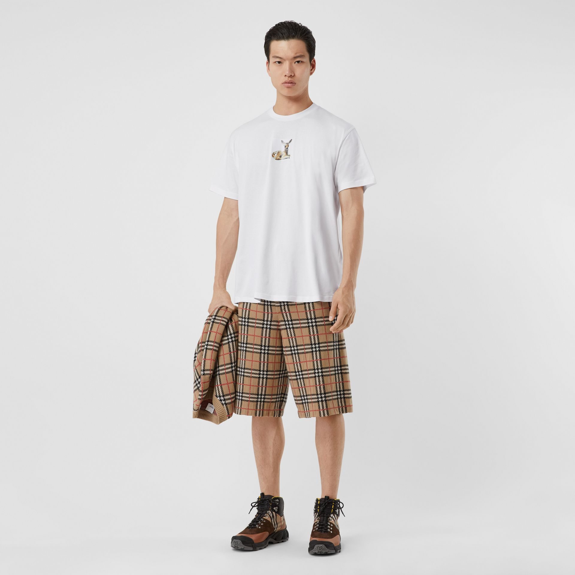 Deer Print Cotton Oversized T-shirt in White - Men | Burberry - gallery image 0