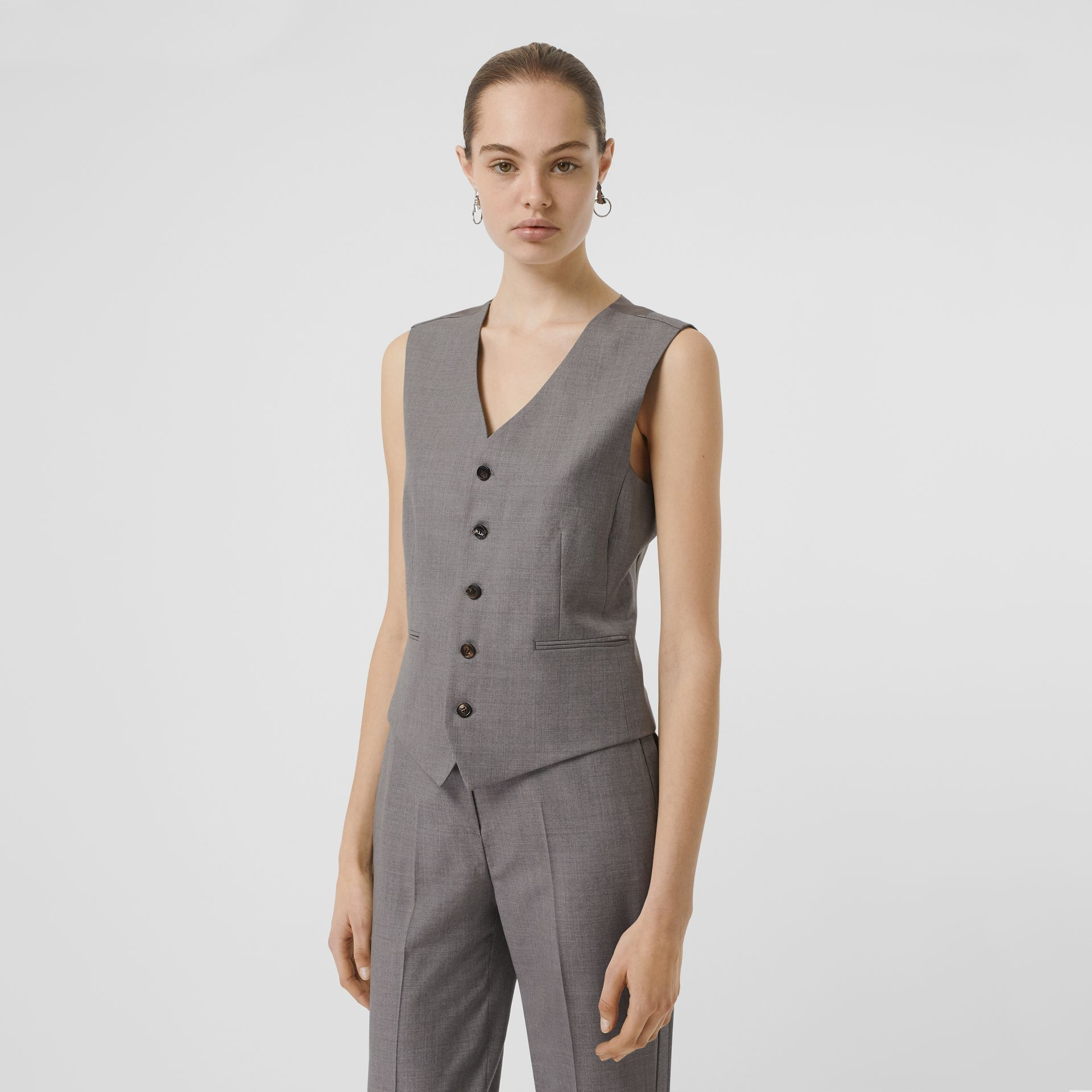 Satin Panel Wool Tailored Waistcoat in Flint - Women | Burberry - gallery image 0