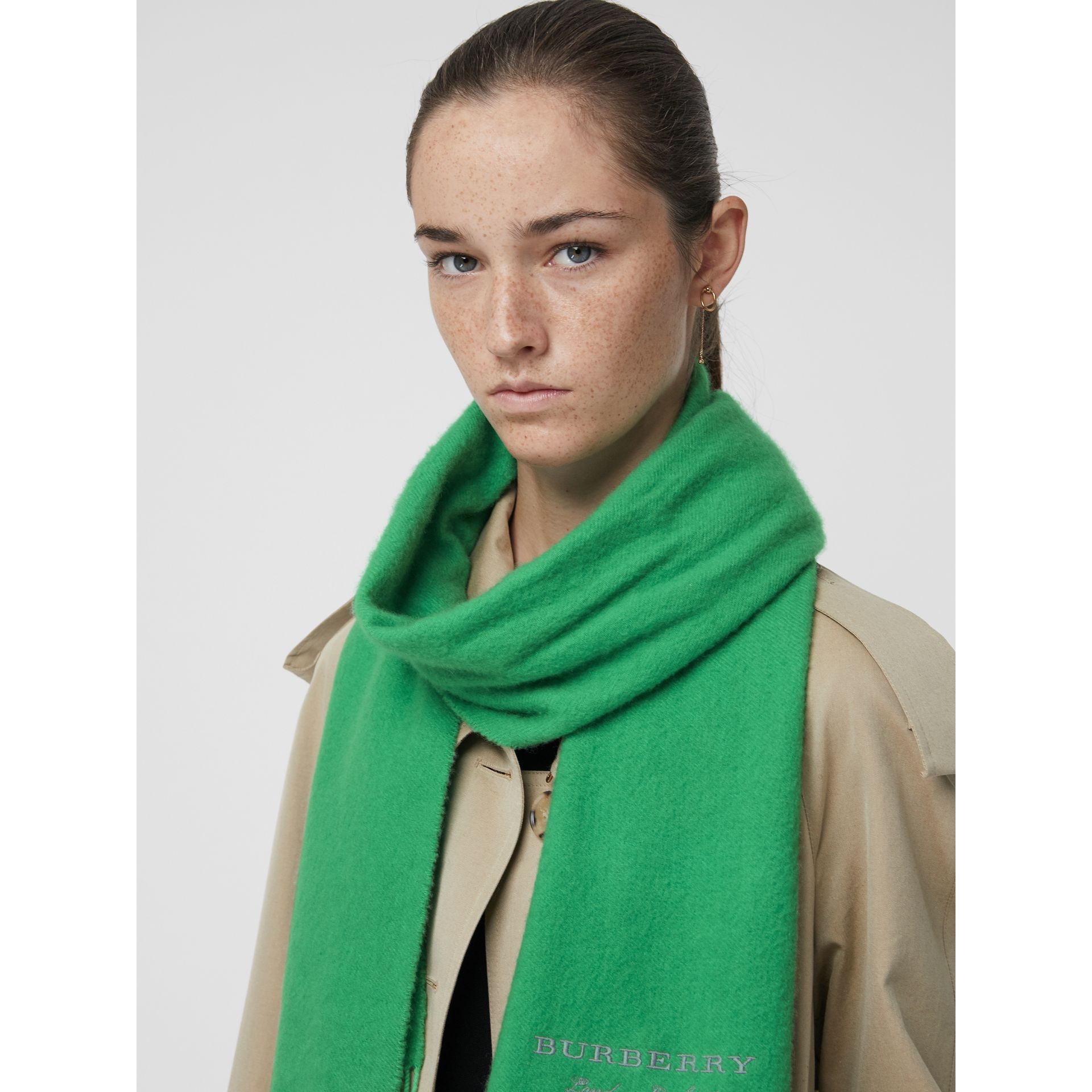 Embroidered Cashmere Fleece Scarf in Tourmaline Green | Burberry United Kingdom - gallery image 4