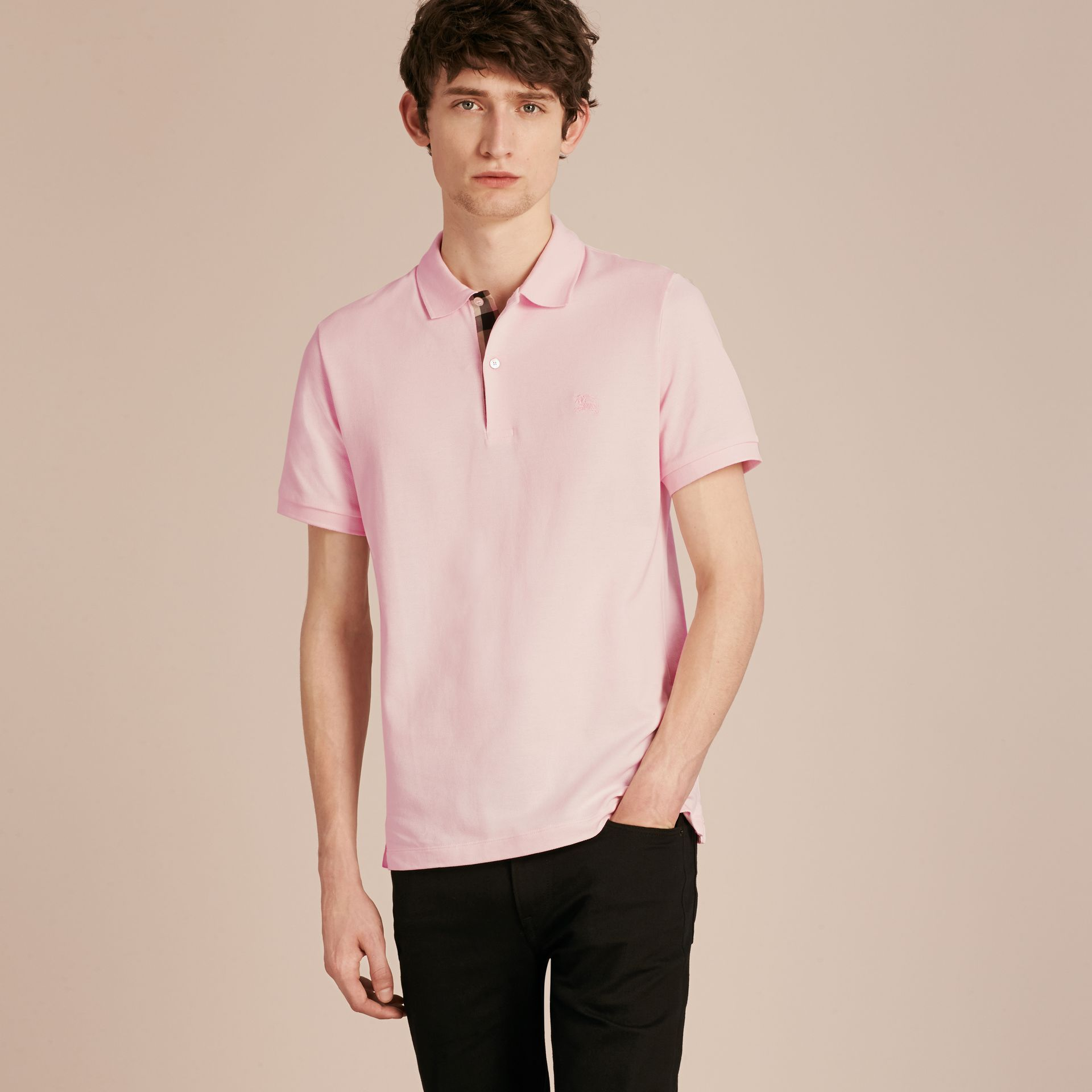 Check Placket Cotton Piqué Polo Shirt in City Pink - gallery image 6