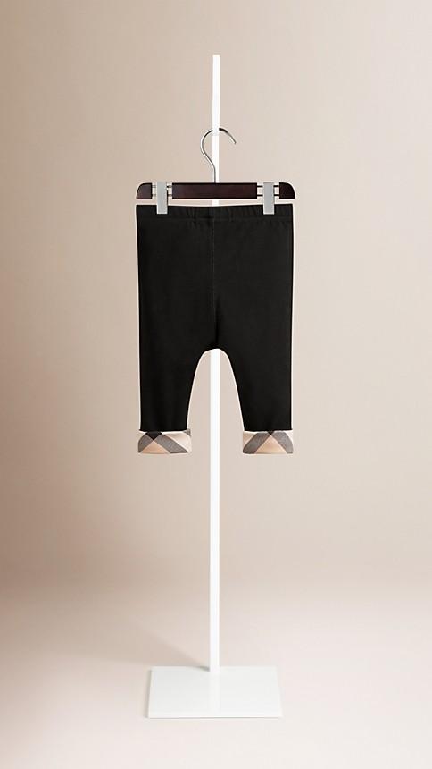 Black Check Detail Cotton Leggings Black - Image 2