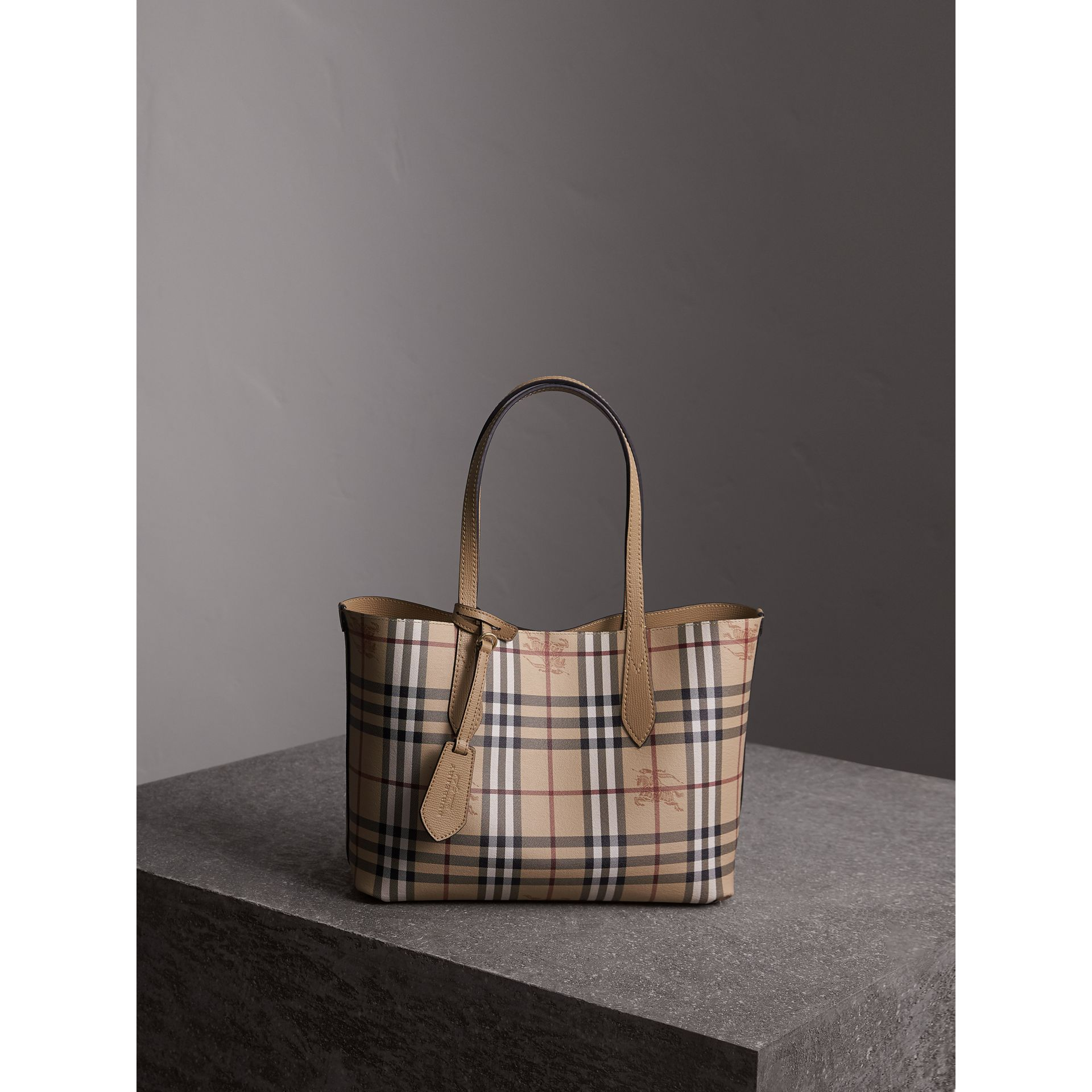 The Small Reversible Tote in Haymarket Check and Leather in Mid Camel - Women | Burberry - gallery image 5