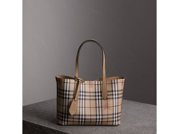 The Small Reversible Tote in Haymarket Check and Leather in Mid Camel - Women | Burberry - cell image 4