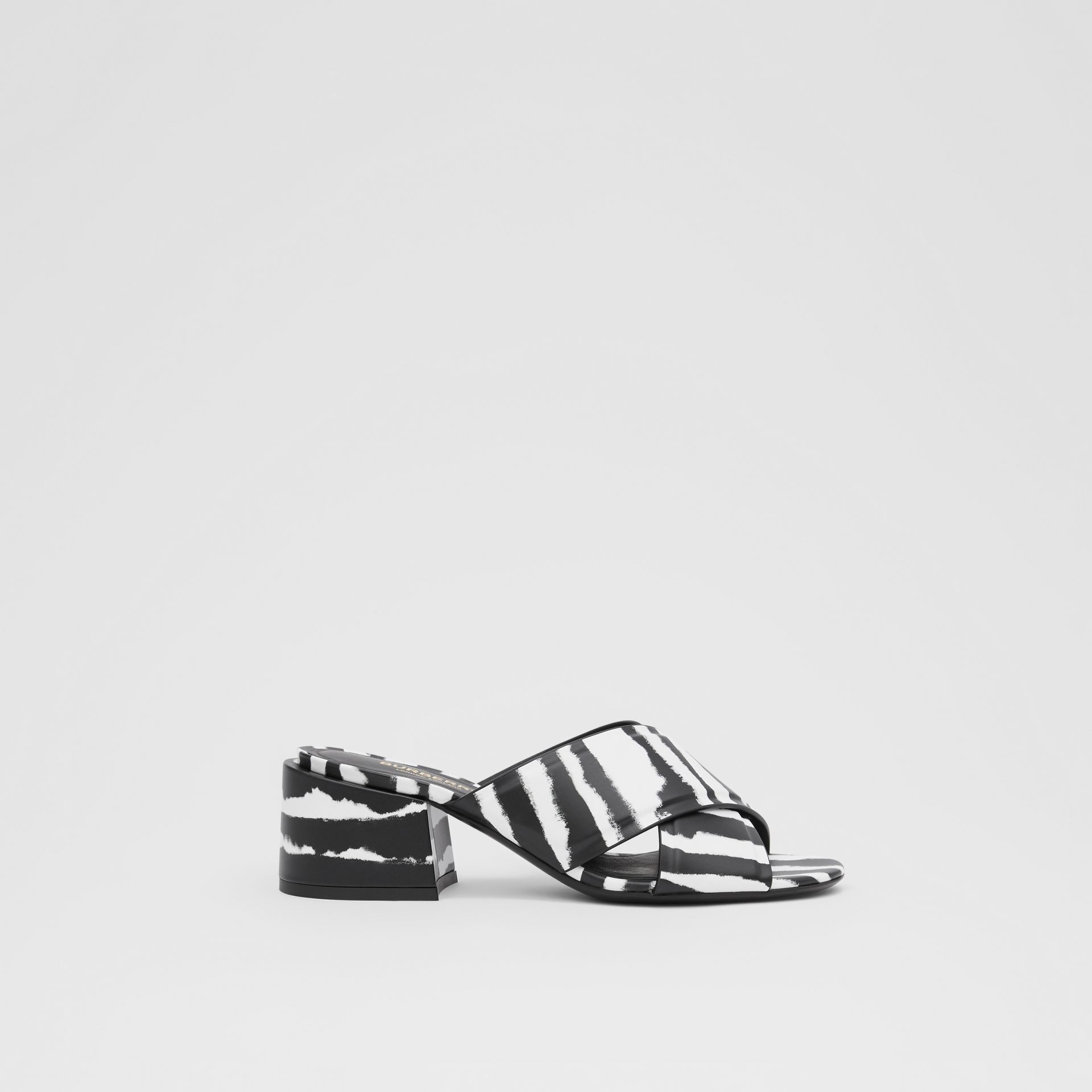 Watercolour Print Leather Block-heel Sandals in Black/white - Women | Burberry United States - gallery image 4