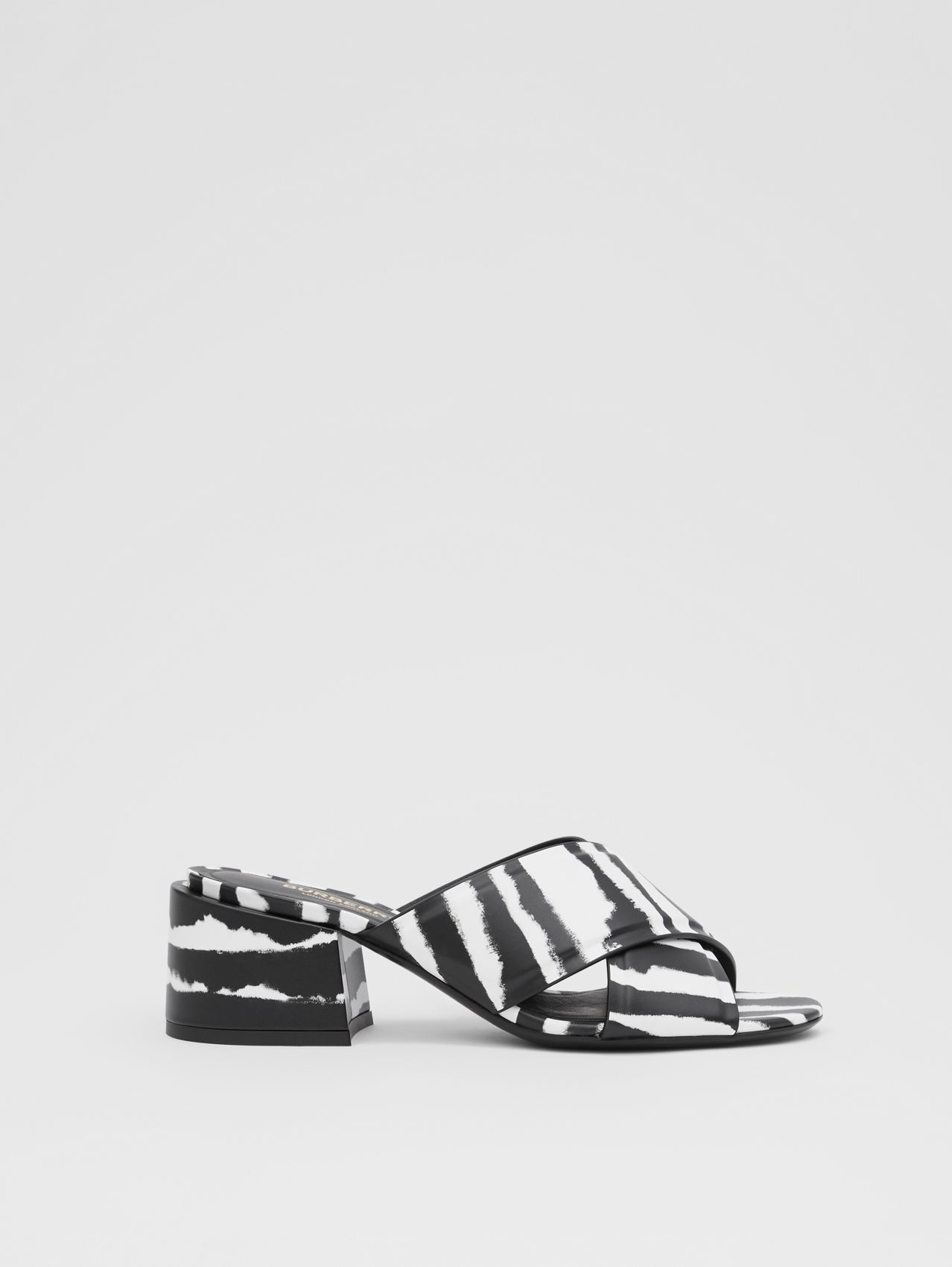 Watercolour Print Leather Block-heel Sandals (Black/white)