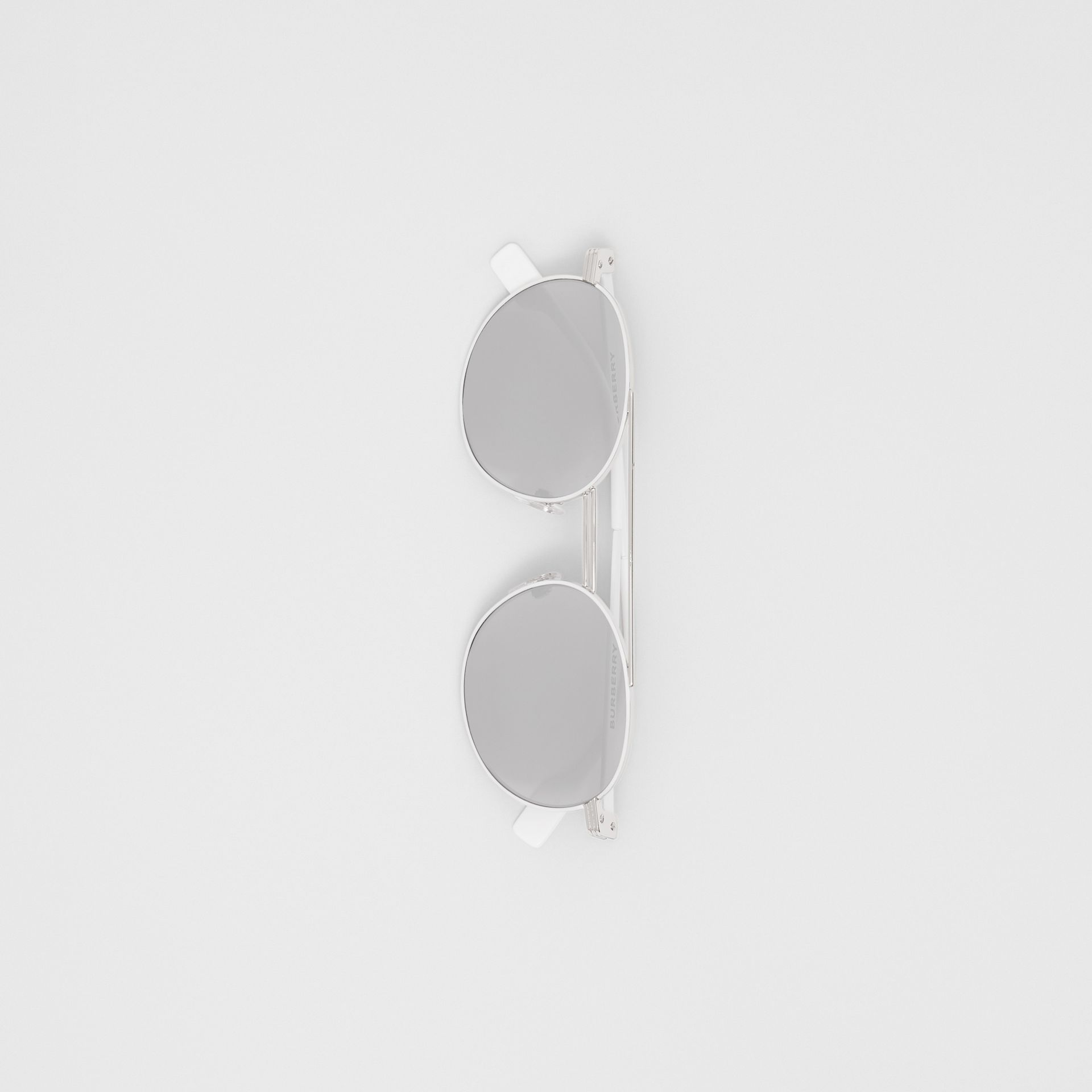 Top Bar Detail Round Frame Sunglasses in Silver - Men | Burberry - gallery image 3