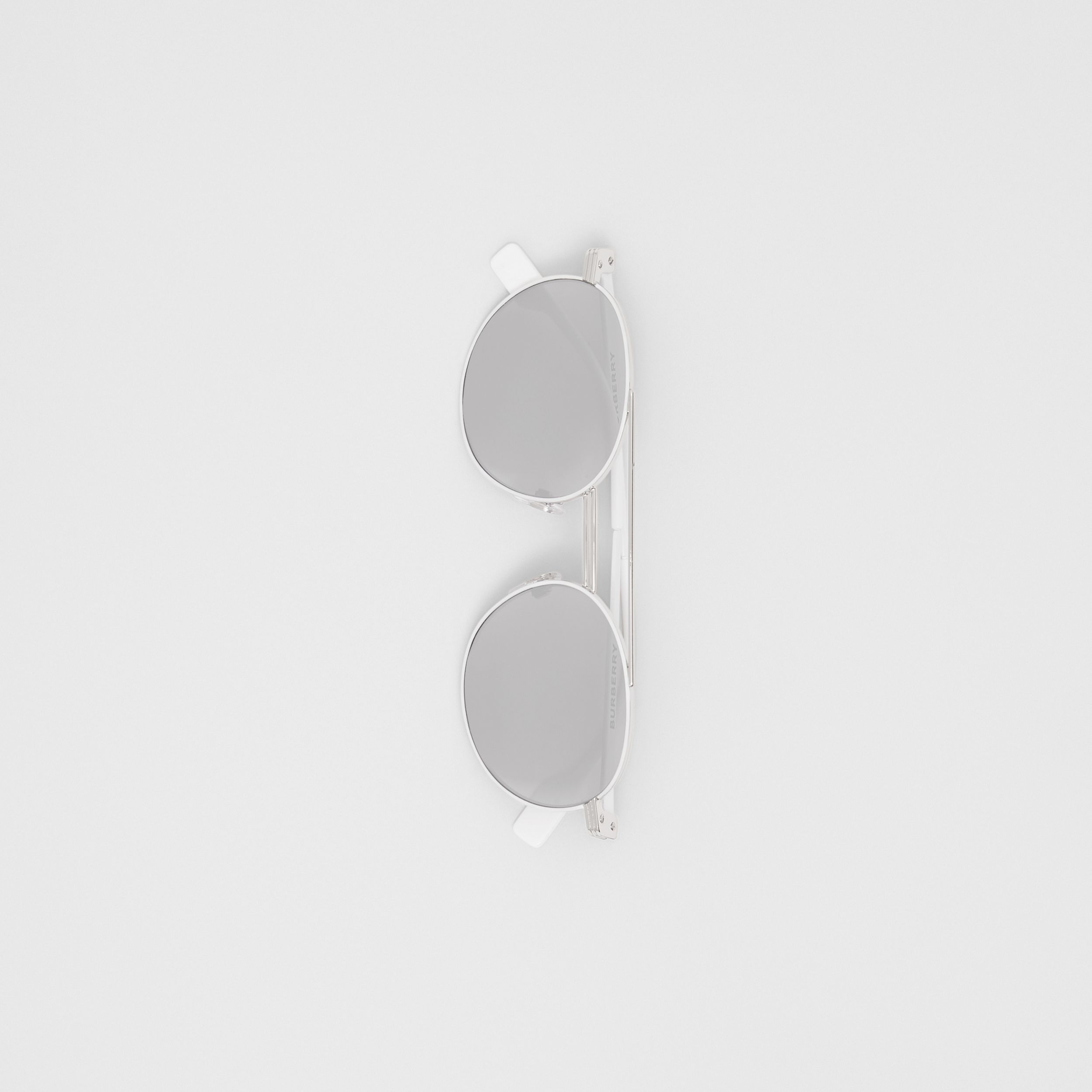 Top Bar Detail Round Frame Sunglasses in Silver - Men | Burberry - 4