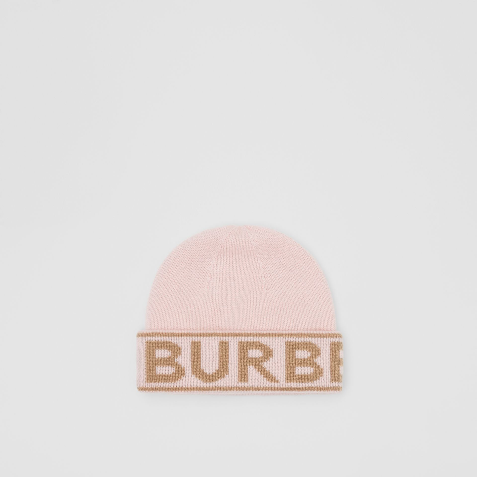 Logo Intarsia Cashmere Beanie in Candy Pink | Burberry - gallery image 0