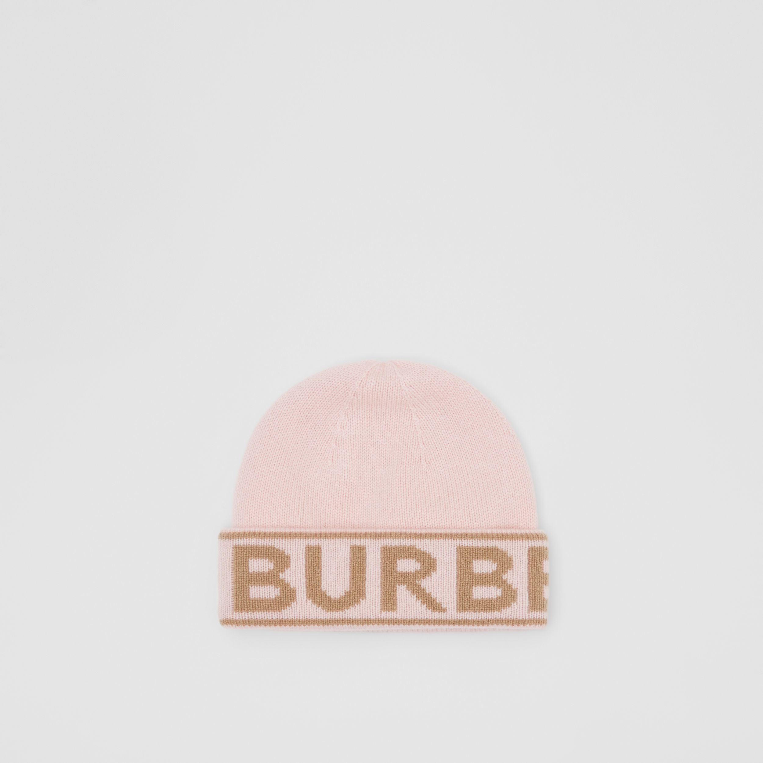 Logo Intarsia Cashmere Beanie in Candy Pink | Burberry - 1