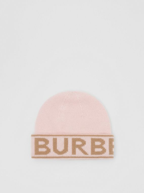 Logo Intarsia Cashmere Beanie in Candy Pink