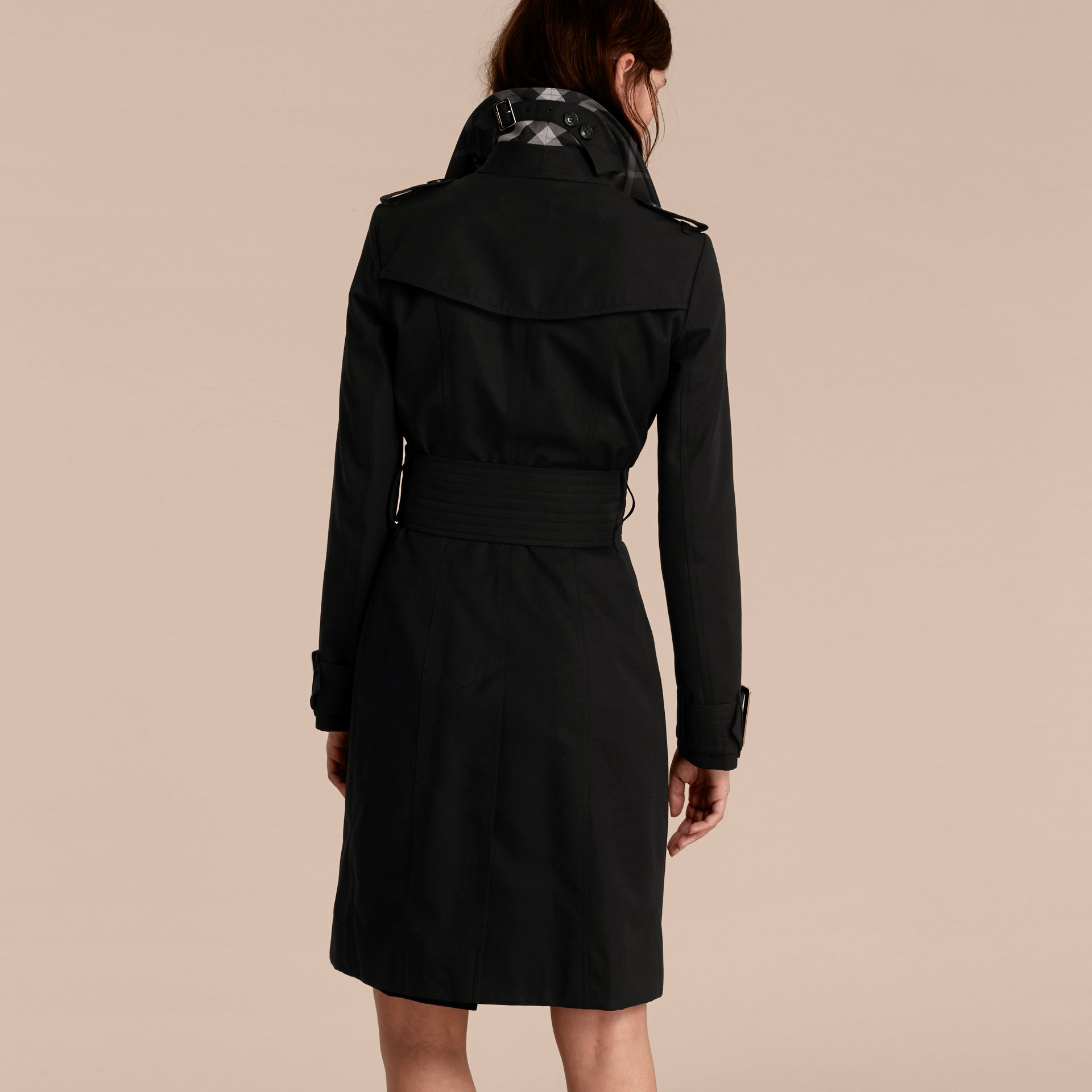 Black Cotton Gabardine Trench Coat with Oversize Buckles - gallery image 3