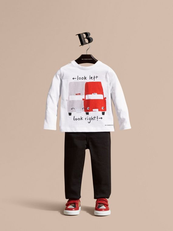 Long-sleeved Taxi Motif Cotton T-Shirt